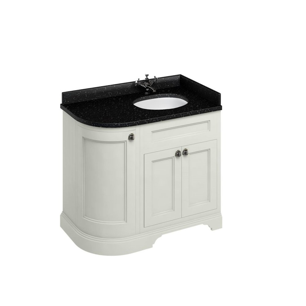 BB Edwardian 100 basin unit with Black Granite Minerva top and basin right hand FC3-BB98R