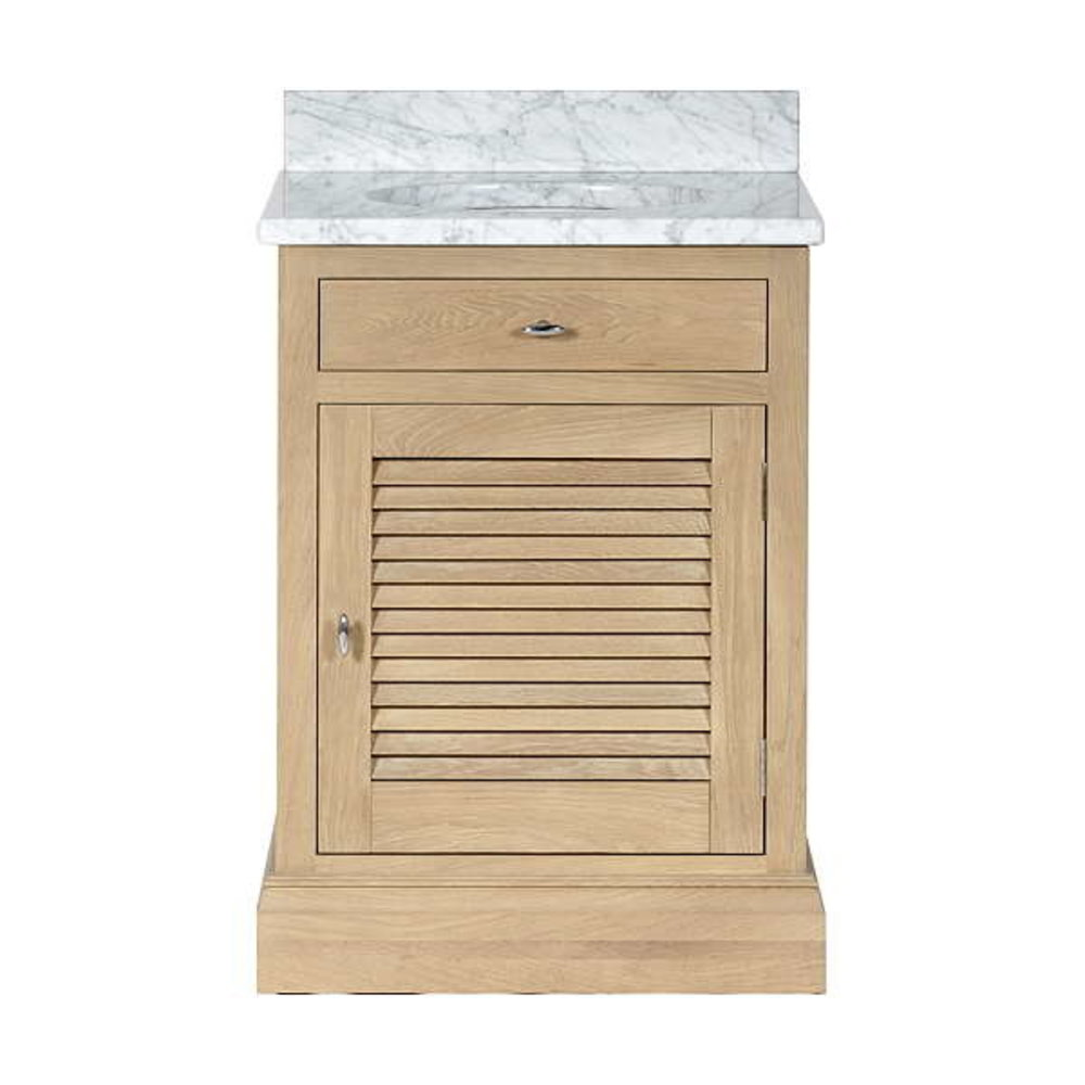 Neptune Edinburgh 640 - oak wash basin stand with marble top and underbuilt basin
