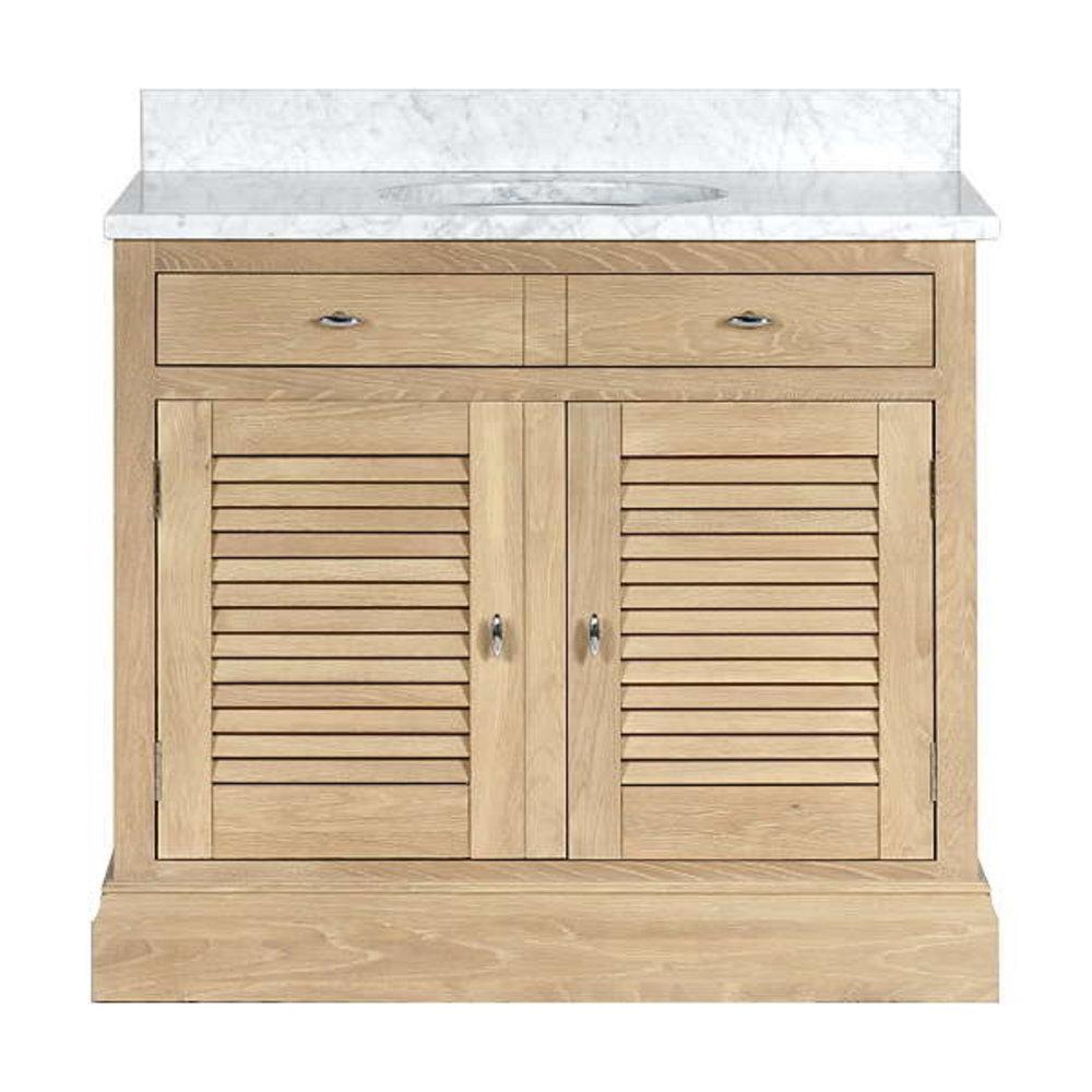Neptune Edinburgh 1000 - oak wash basin stand with doors, marble top and underbuilt basin