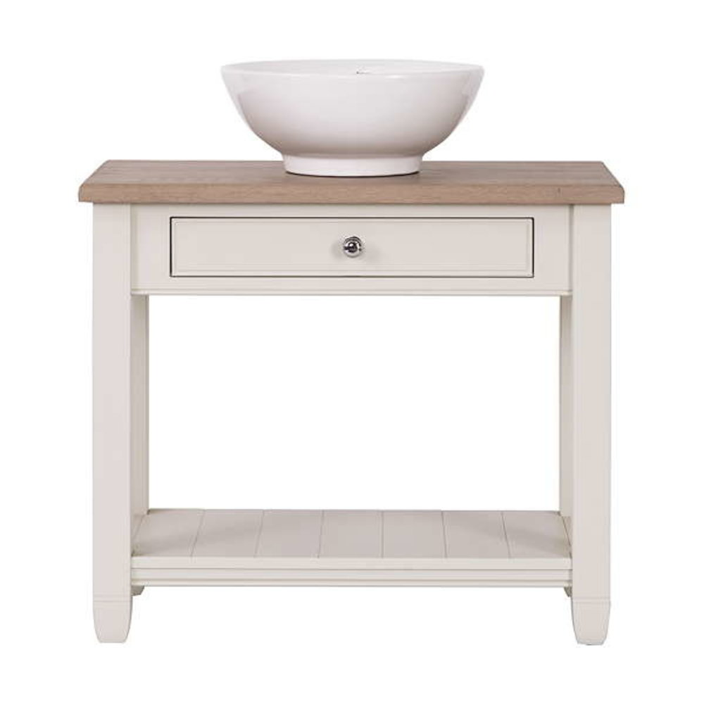 Neptune Chichester 850 - wooden wash basin stand with oak top and countertop basin