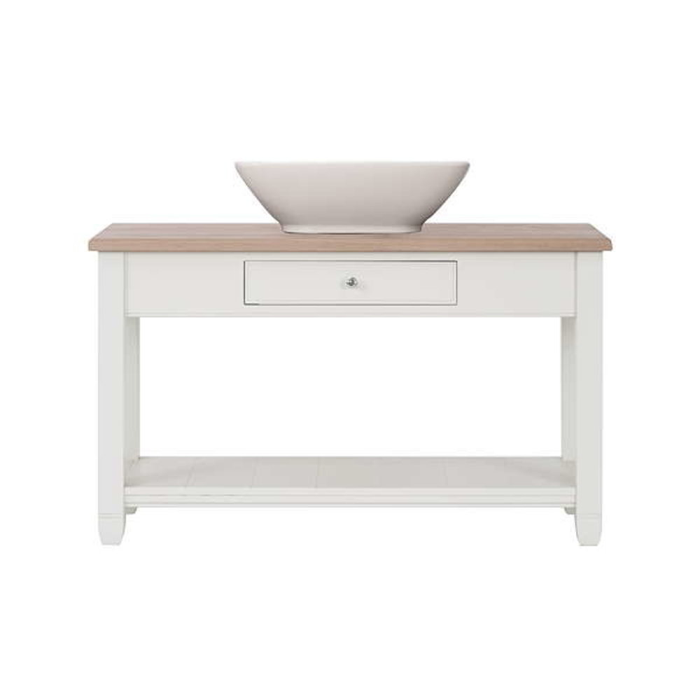 Neptune Chichester 1220 - wooden wash basin stand with oak top and countertop basin