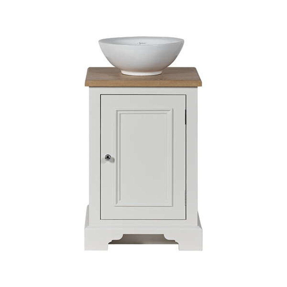Neptune Chichester 500 - wooden wash basin stand with door, oak top and countertop basin