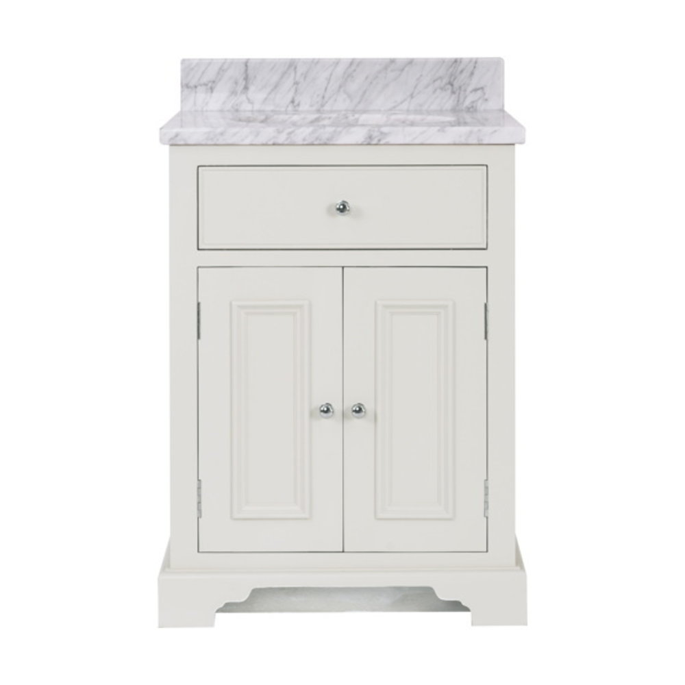 Neptune Chichester 640 - wooden wash basin stand with drawer and doors,  Carrara marble top and built in basin