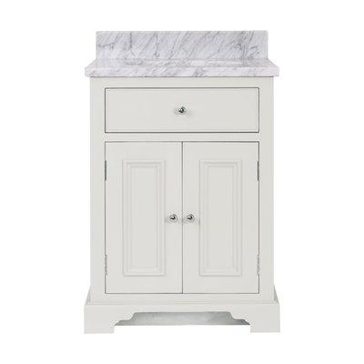 Waschtischschrank Massivholz mit Carrara Chichester 640