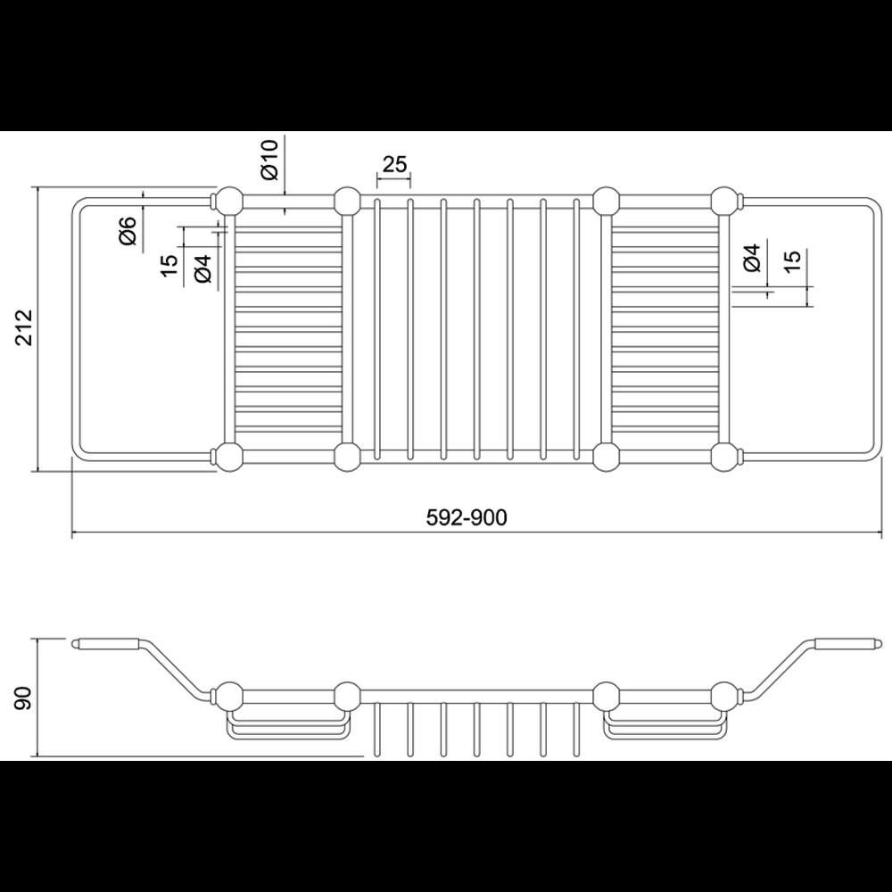 BB Edwardian Edwardian Brass extendable bath rack; 592 -900mm