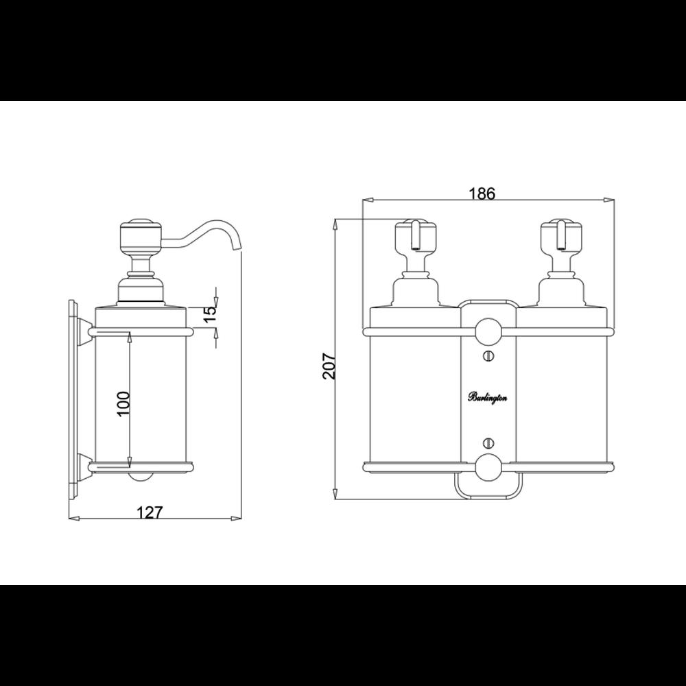 BB Edwardian Edwardian dubbele wand zeepdispenser wit porselein