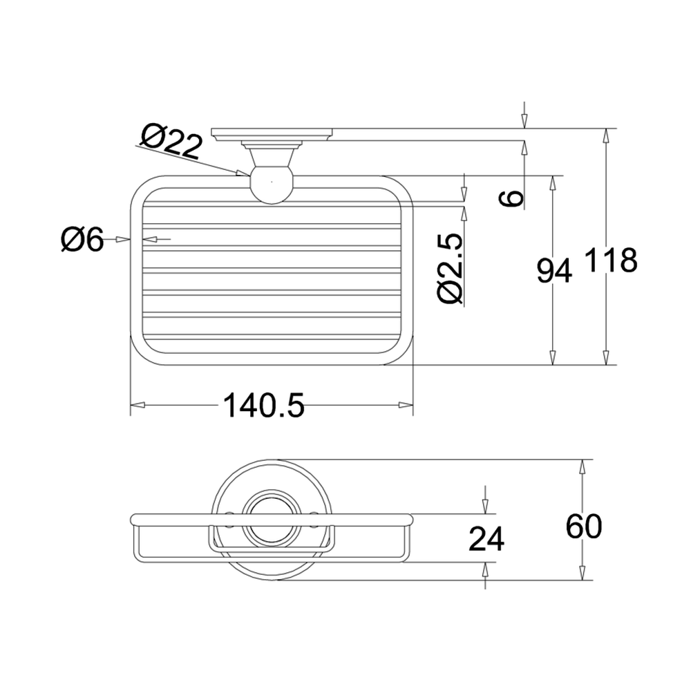BB Edwardian Edwardian zeep draadmand voor wandbevestiging