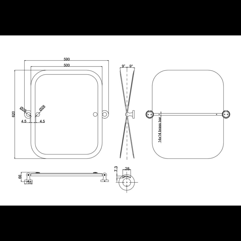 BB Arcade Arcade rechthoekige spiegel, kantelbaar