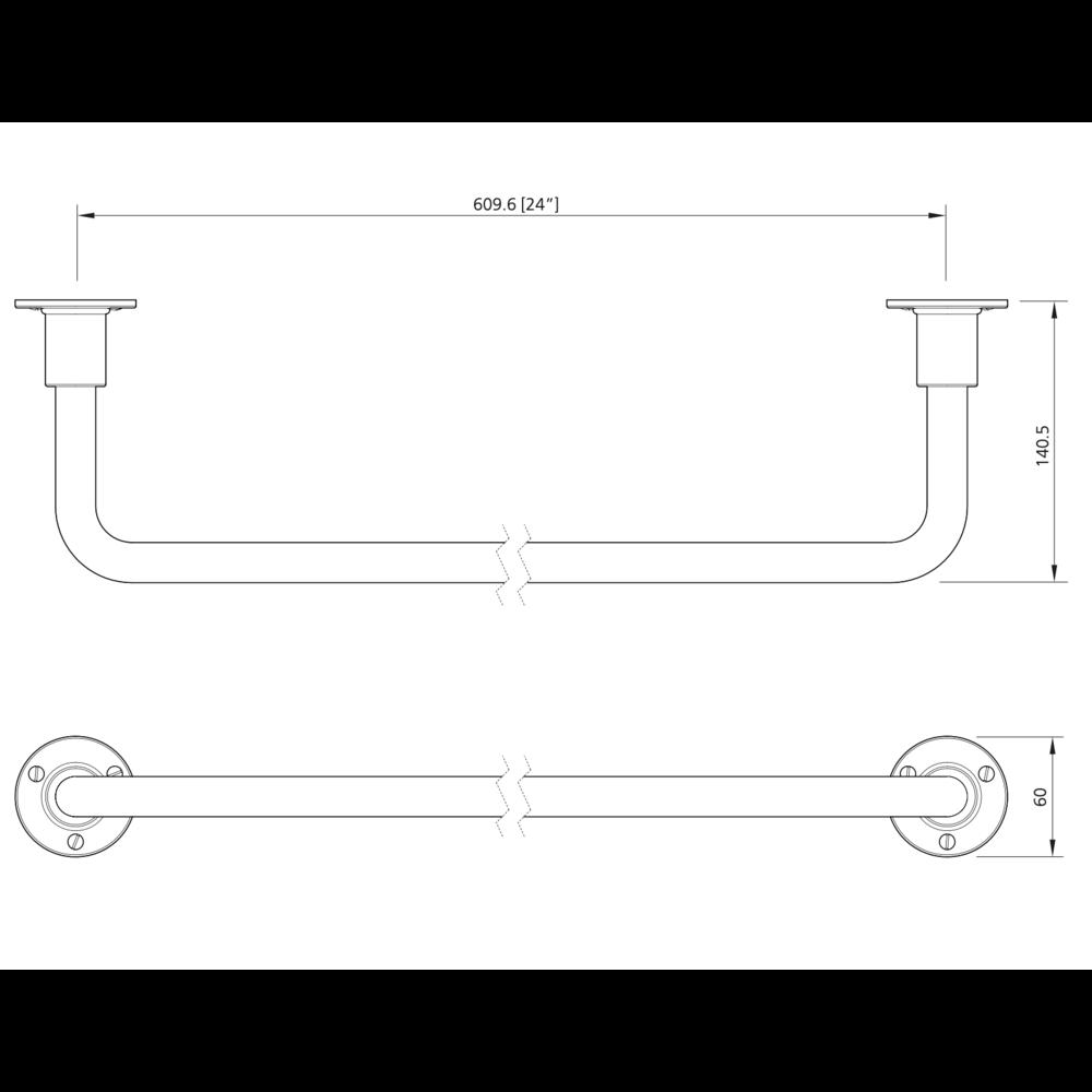 Lefroy Brooks 1920 Ten Ten LB 1920 Ten Ten towel rail 610mm TT-4967