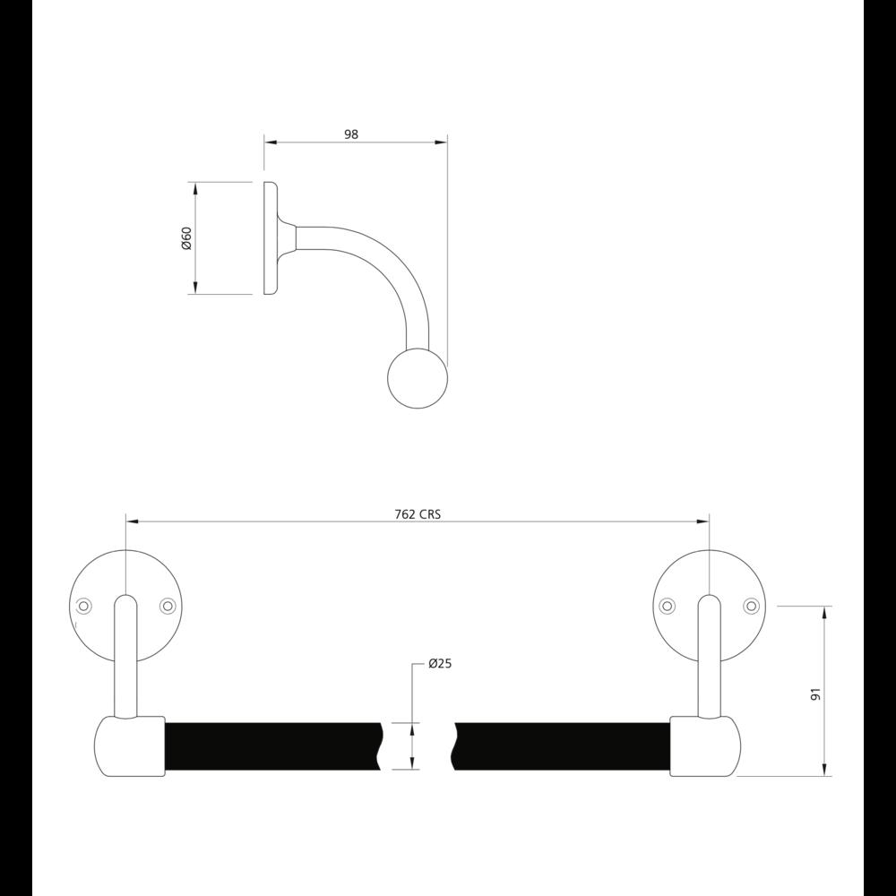 Lefroy Brooks 1900 Classic Black LB 1900 Classic Black handdoek stang 762mm BK-4508
