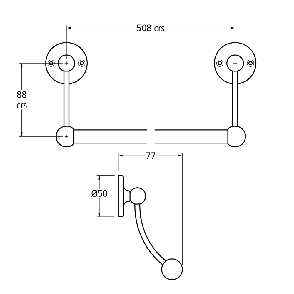 "Lefroy Brooks 1900 Classic LB1900 Classic Towel rail 508mm (standard 20"")  LB-4935"