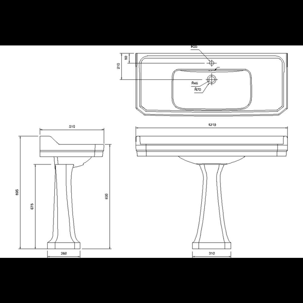 BB Edwardian Bespoke Edwardian 120cm Black basin with pedestal
