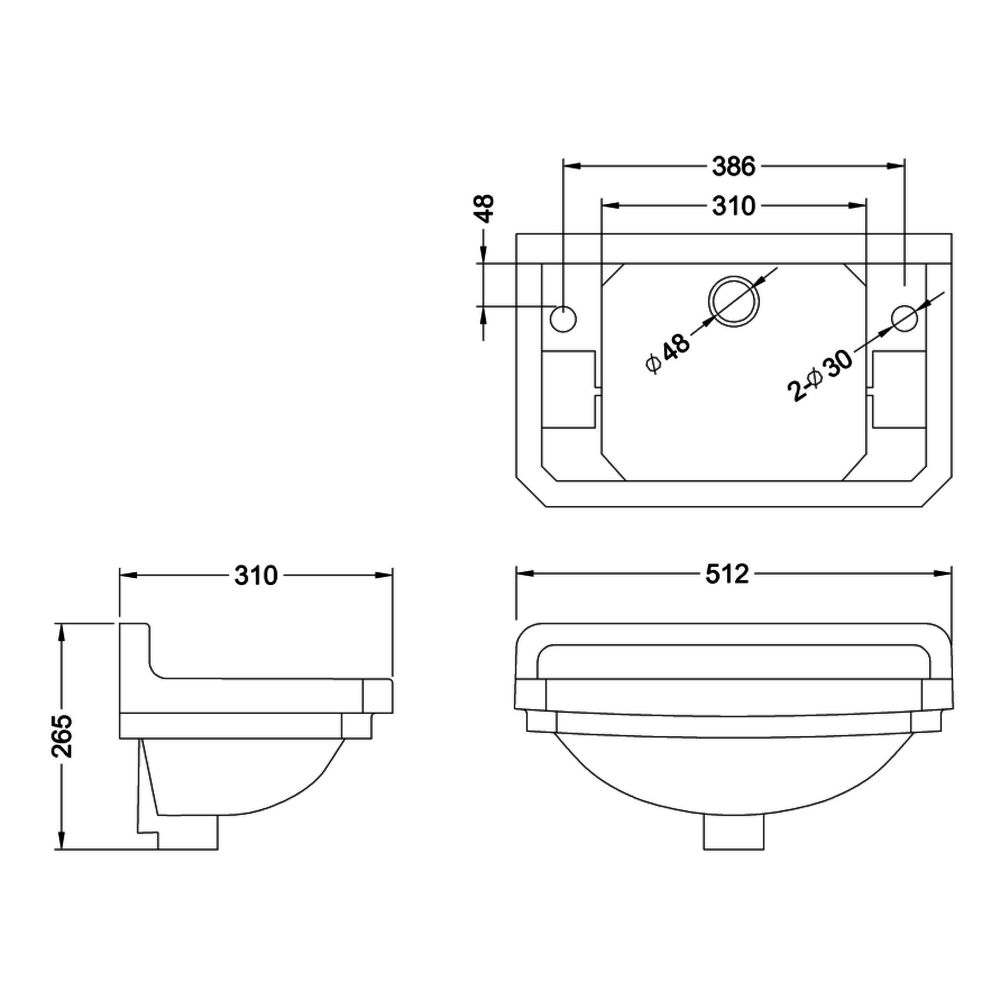 BB Edwardian Edwardian 51cm cloakroom basin