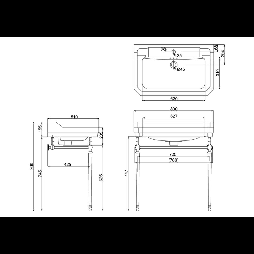 BB Edwardian Klassieke wastafel Edwardian 80cm met metalen onderstel
