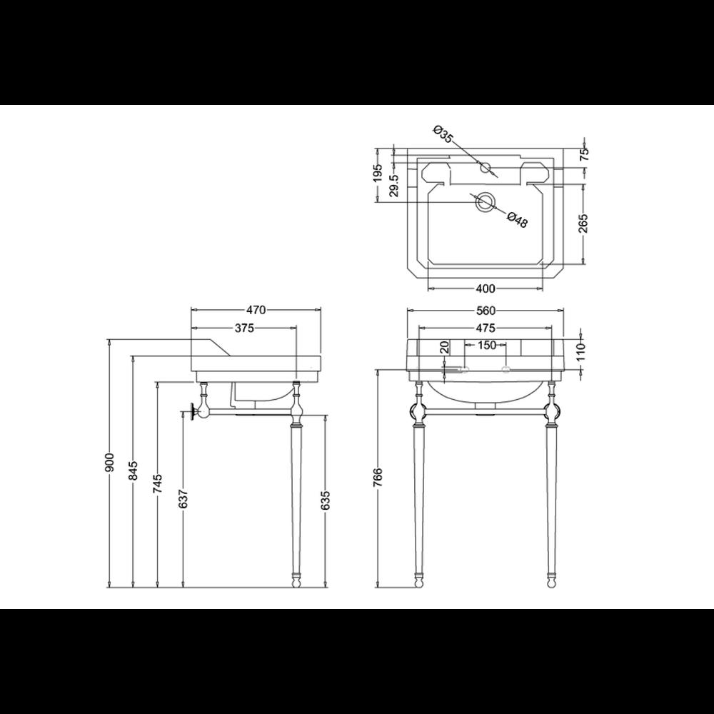 BB Edwardian Klassieke wastafel Edwardian 56cm met onderstel  B4-T22A