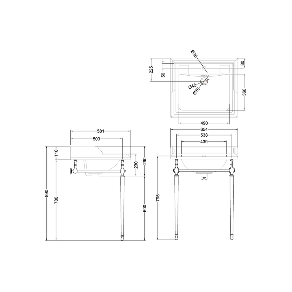 BB Edwardian Klassieke wastafel Classic 65cm cm met metalen onderstel