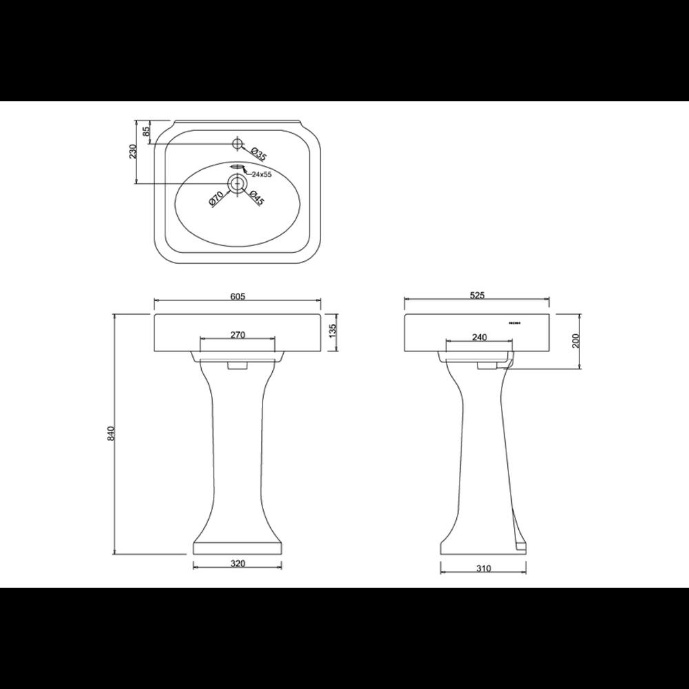 BB Arcade Arcade 600mm basin