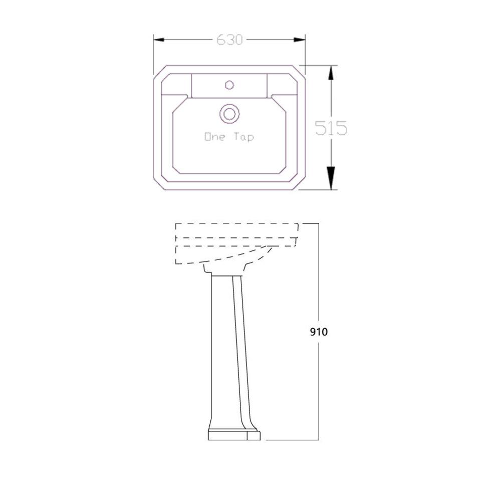 Perrin & Rowe Deco Retro wastafel Deco 63cm met zuil