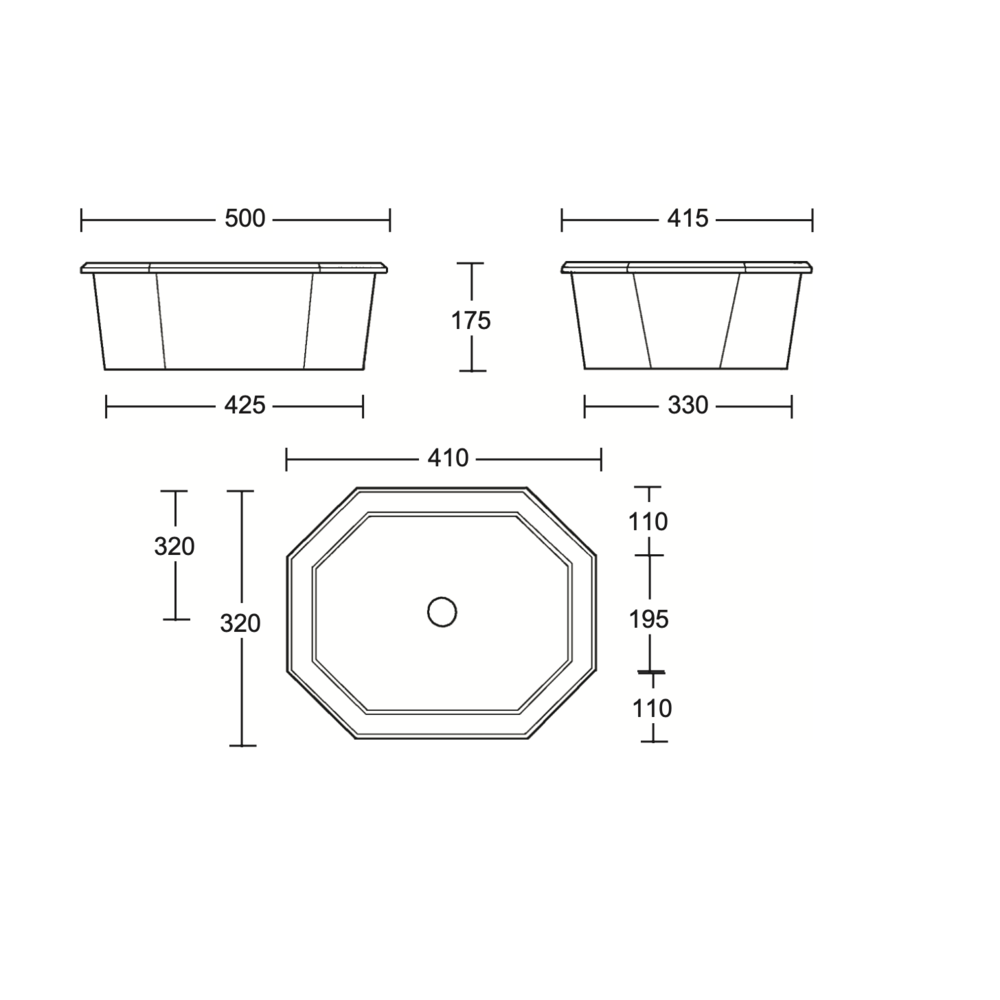 Imperial Imperial Deco black inset basin