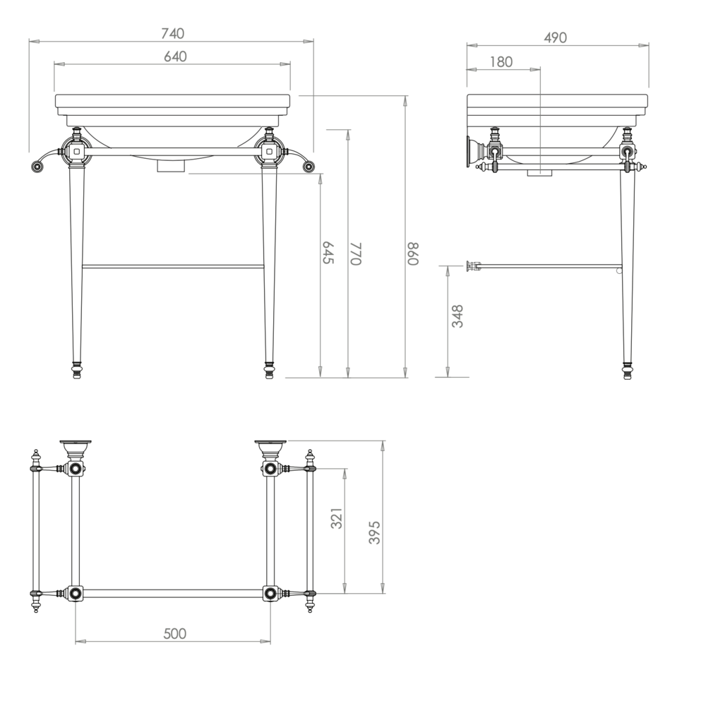 Imperial Retro wastafel Imperial Deco 64cm met metalen onderstel