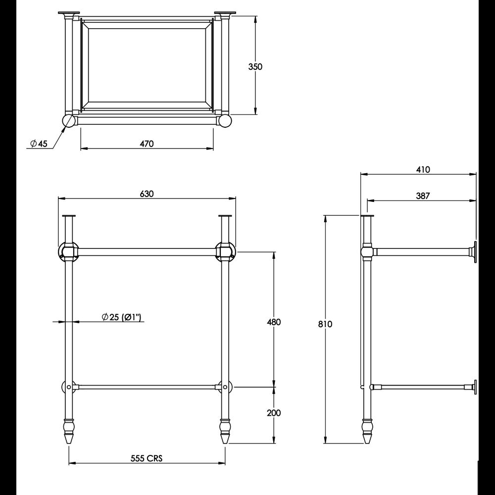 Bard & Brazier B&B Clarence basin stand with glass shelf for Charterhouse 61cm basin - CBG