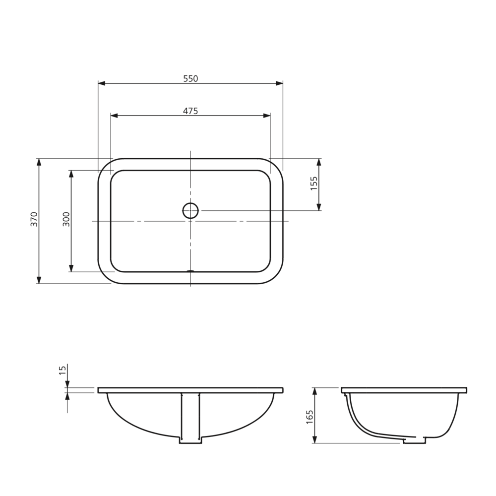 Lefroy Brooks 1900 Classic LB Classic undercounter rectangular basin