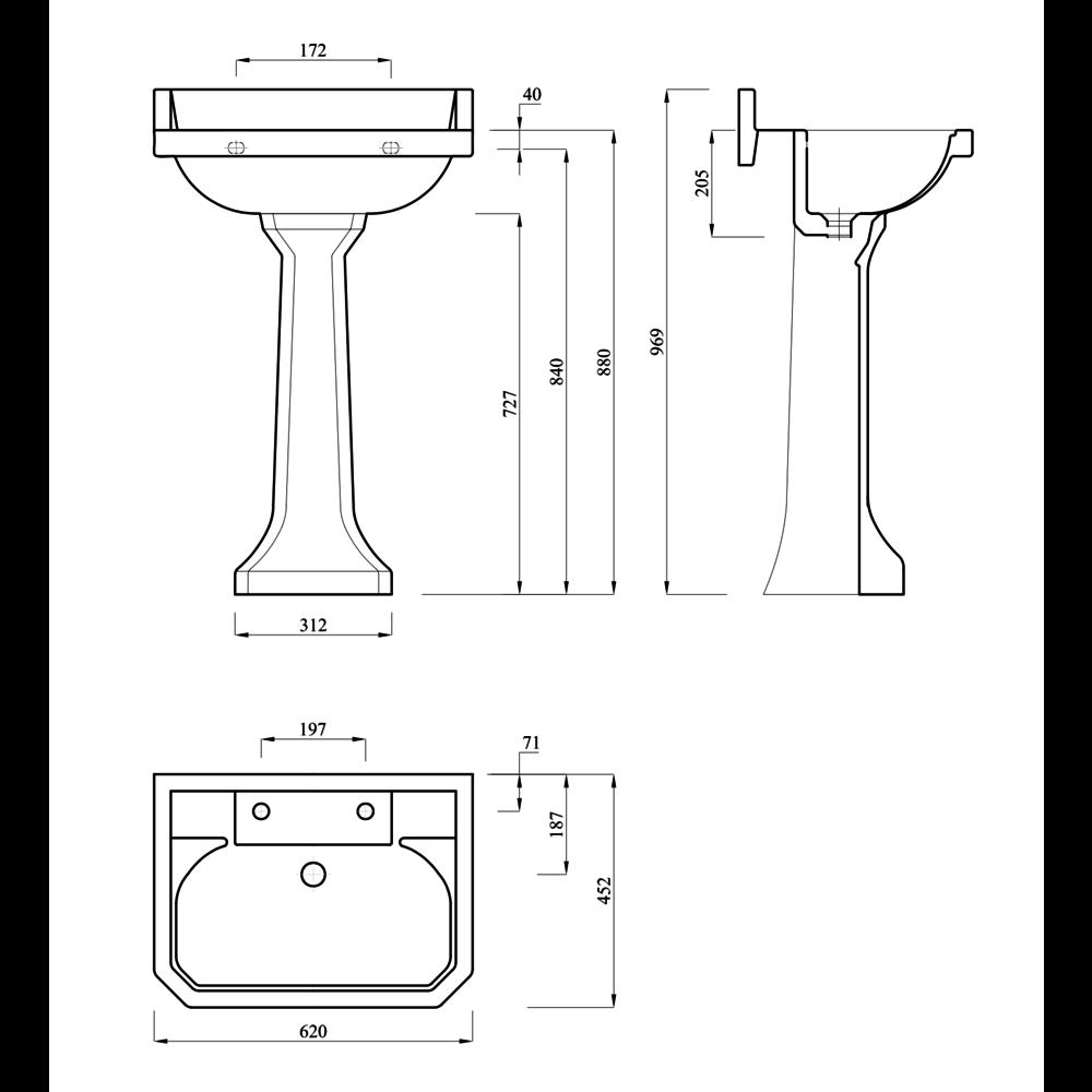 Lefroy Brooks 1900 Classic LB Classic Charterhouse 62cm basin with pedestal
