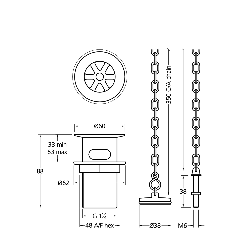 Lefroy Brooks LB basin waste with plug and chain LB-1327