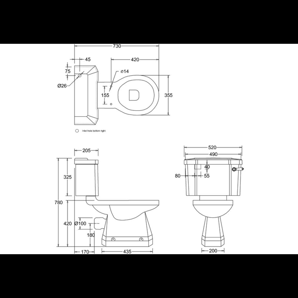 BB Edwardian Bespoke Duoblok toilet met porseleinen hendel, achteruitlaat (PK) - zwart