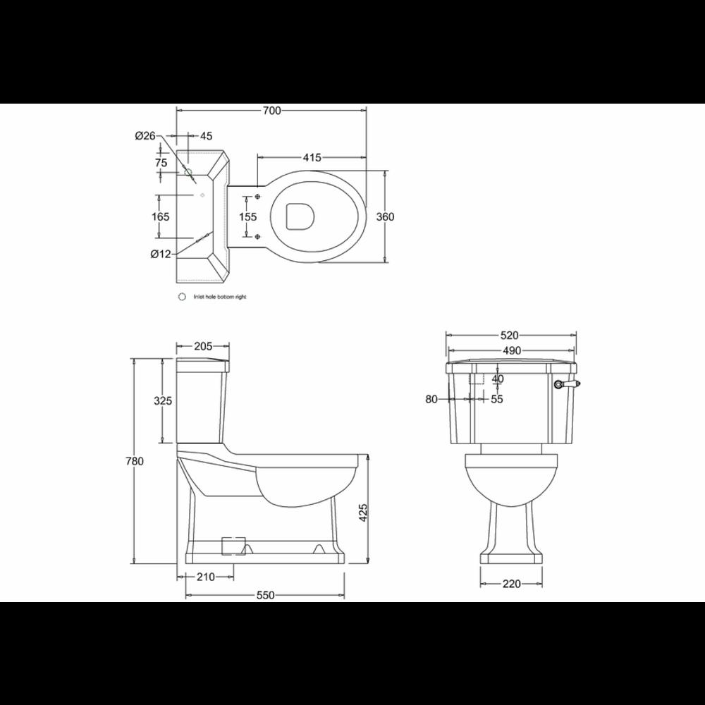 BB Edwardian Duoblok toilet met porseleinen hendel, onderuitlaat (AO)