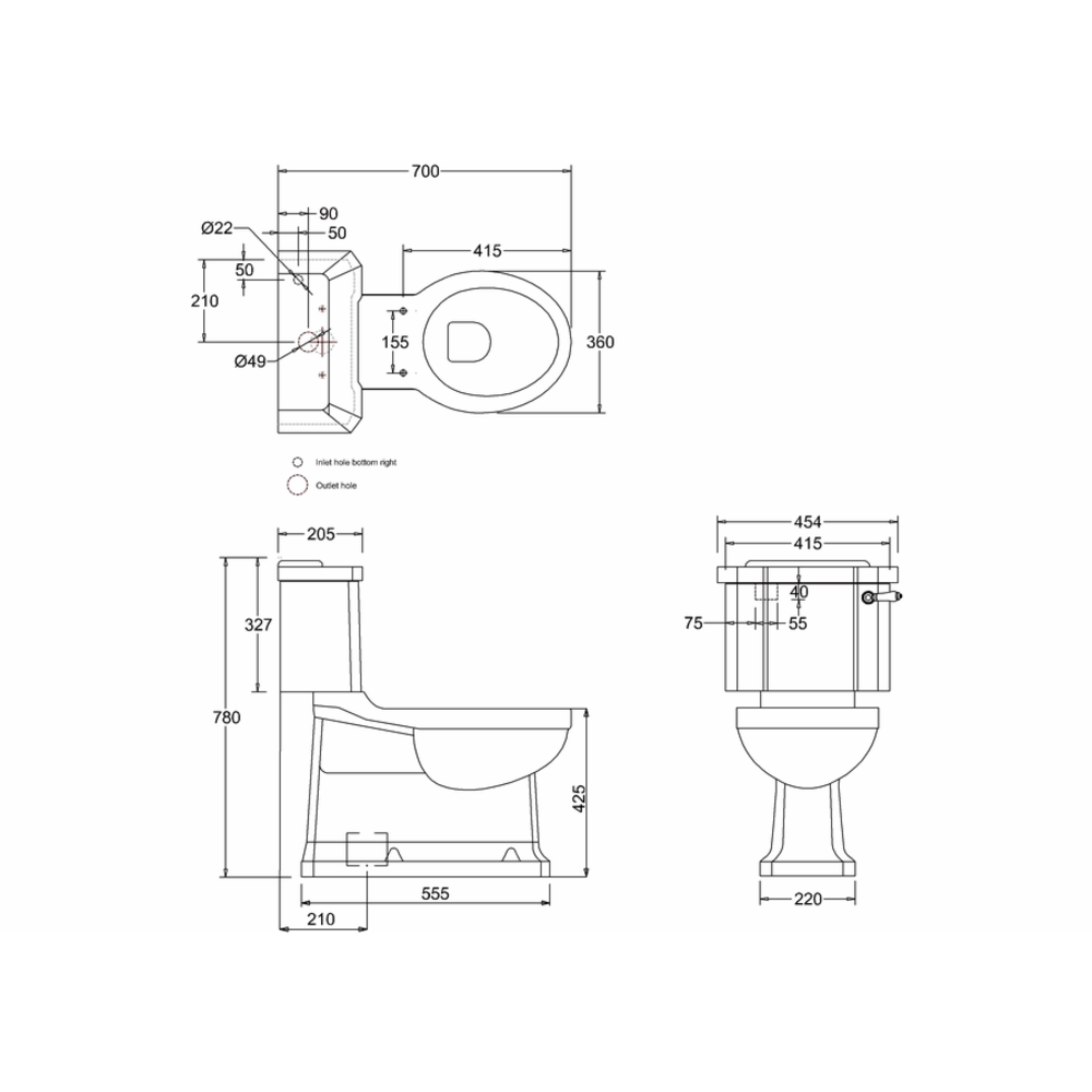 BB Edwardian Close coupled toilet with cistern - s-trap
