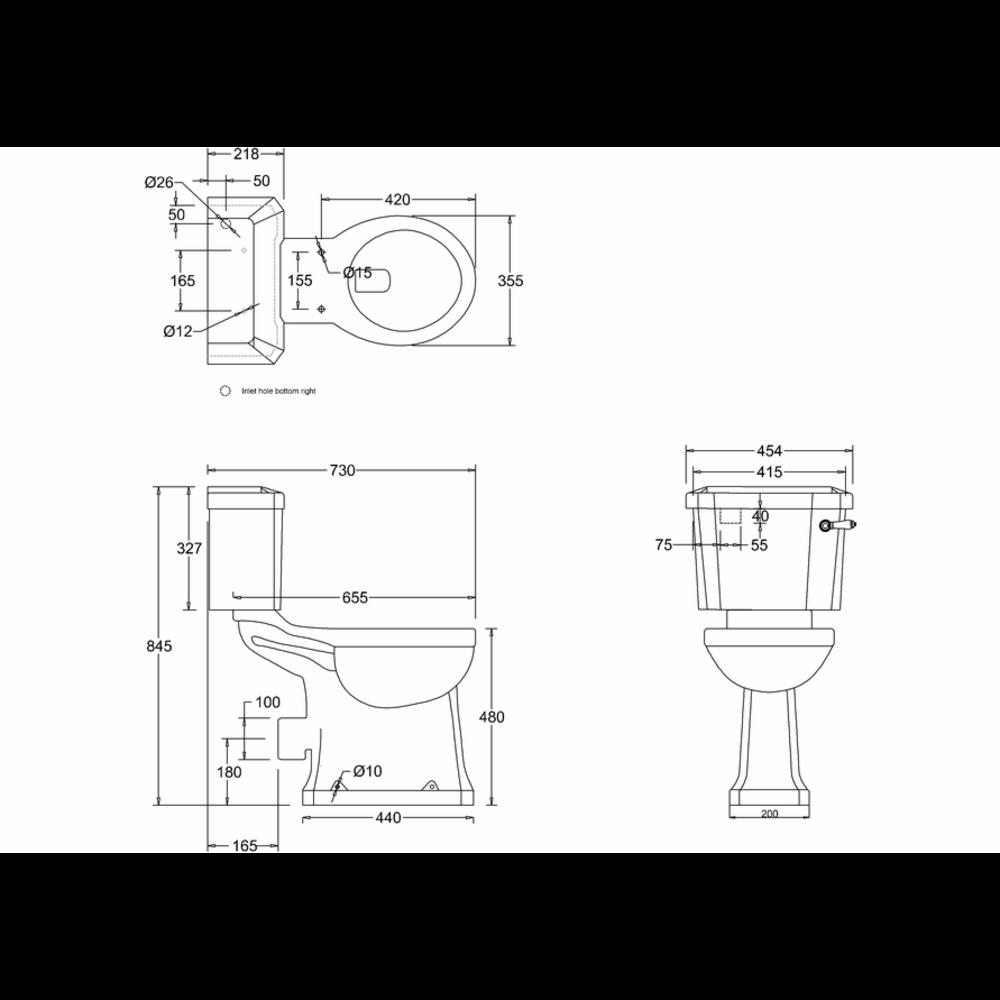 BB Edwardian Duoblok toilet met porseleinen hendel, achteruitlaat (PK)