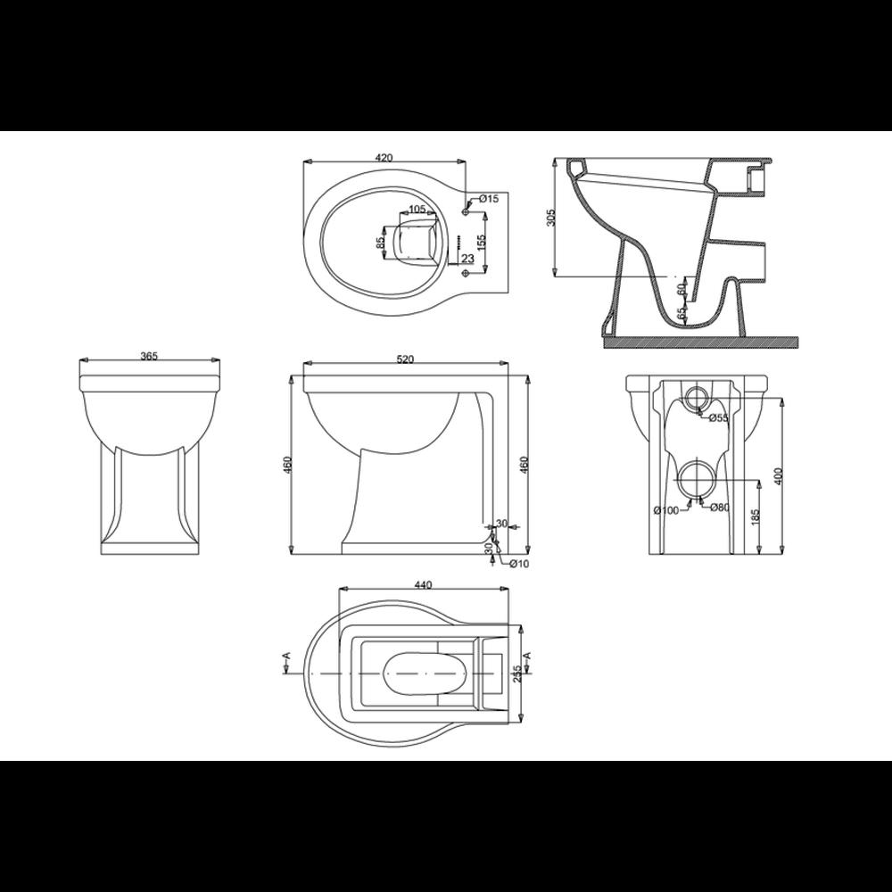 BB Arcade Staande toilet pot - tegen de muur te monteren