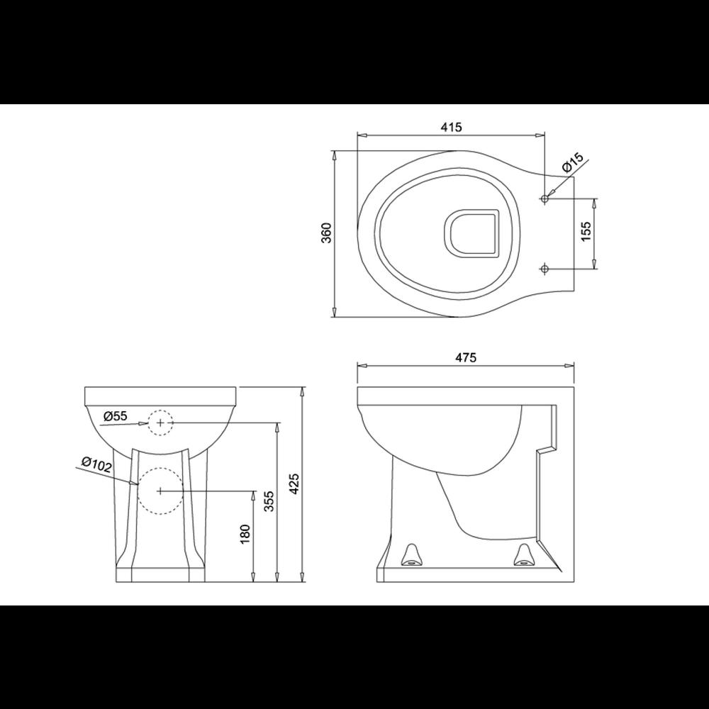 BB Edwardian Bespoke Staande toilet pot zwart - tegen de muur te monteren