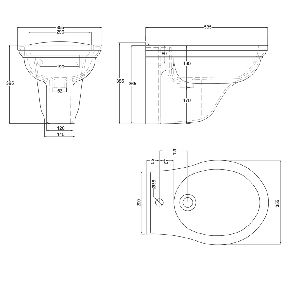 Imperial Deco Wall hung bidet - white