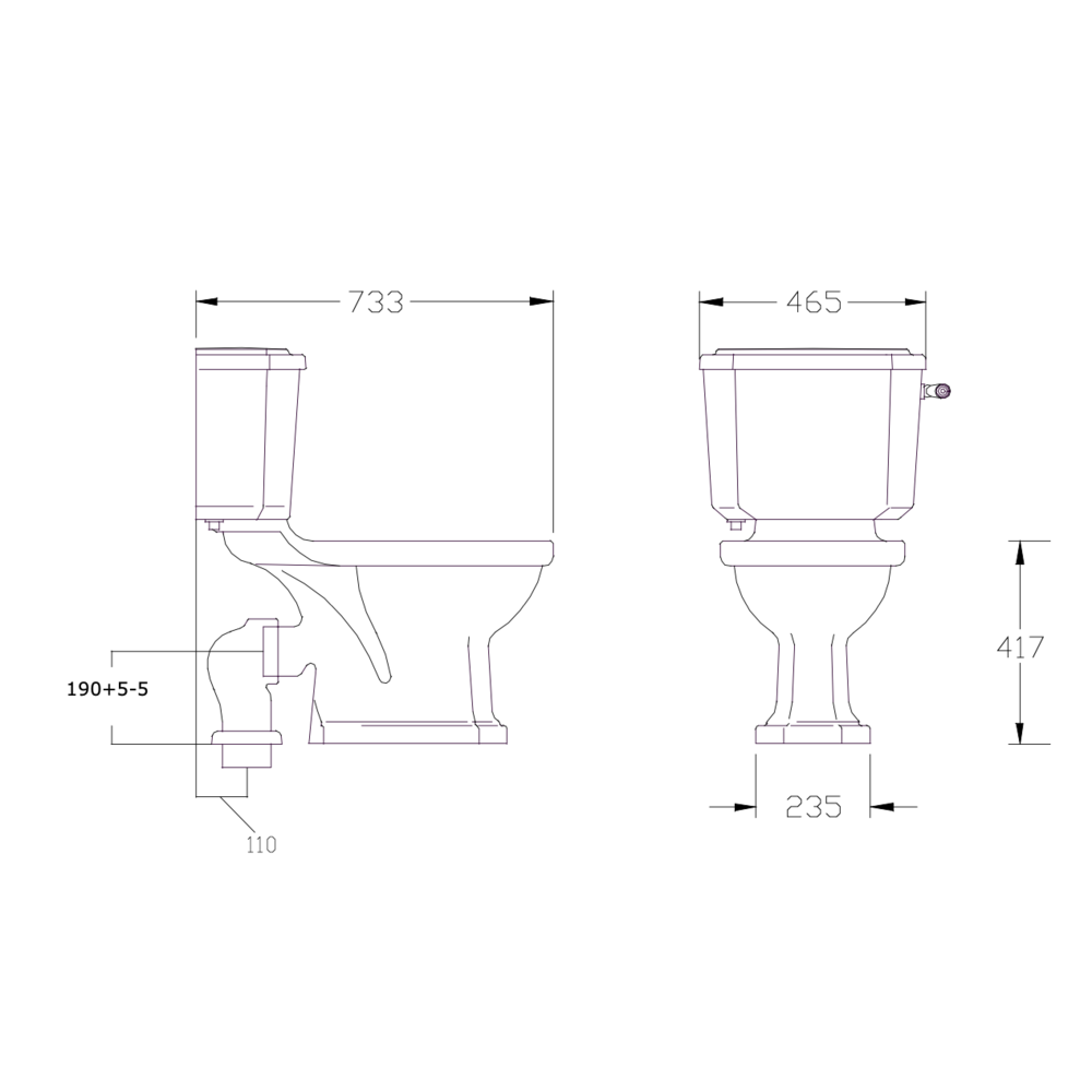 Perrin & Rowe Deco Deco Close coupled toilet with cistern, metal handle