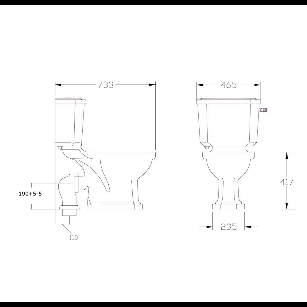 Perrin & Rowe Deco Deco Duoblok toilet met metalen hendel