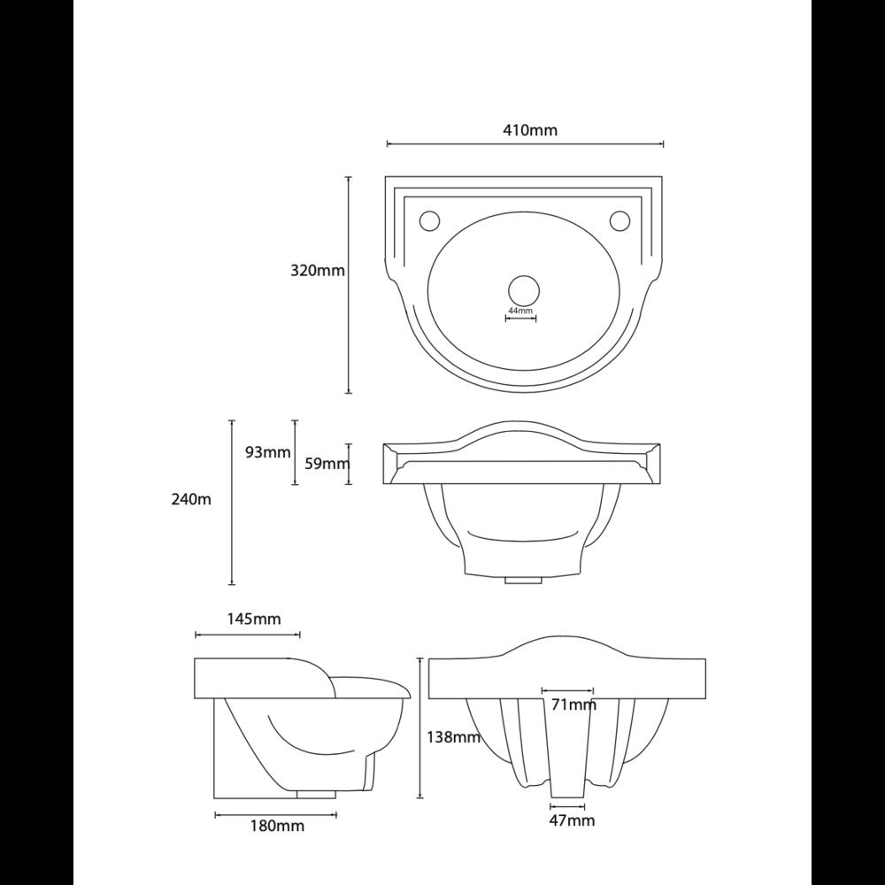 Perrin & Rowe Victorian Nostagic cloakroom basin Victorian 40cm