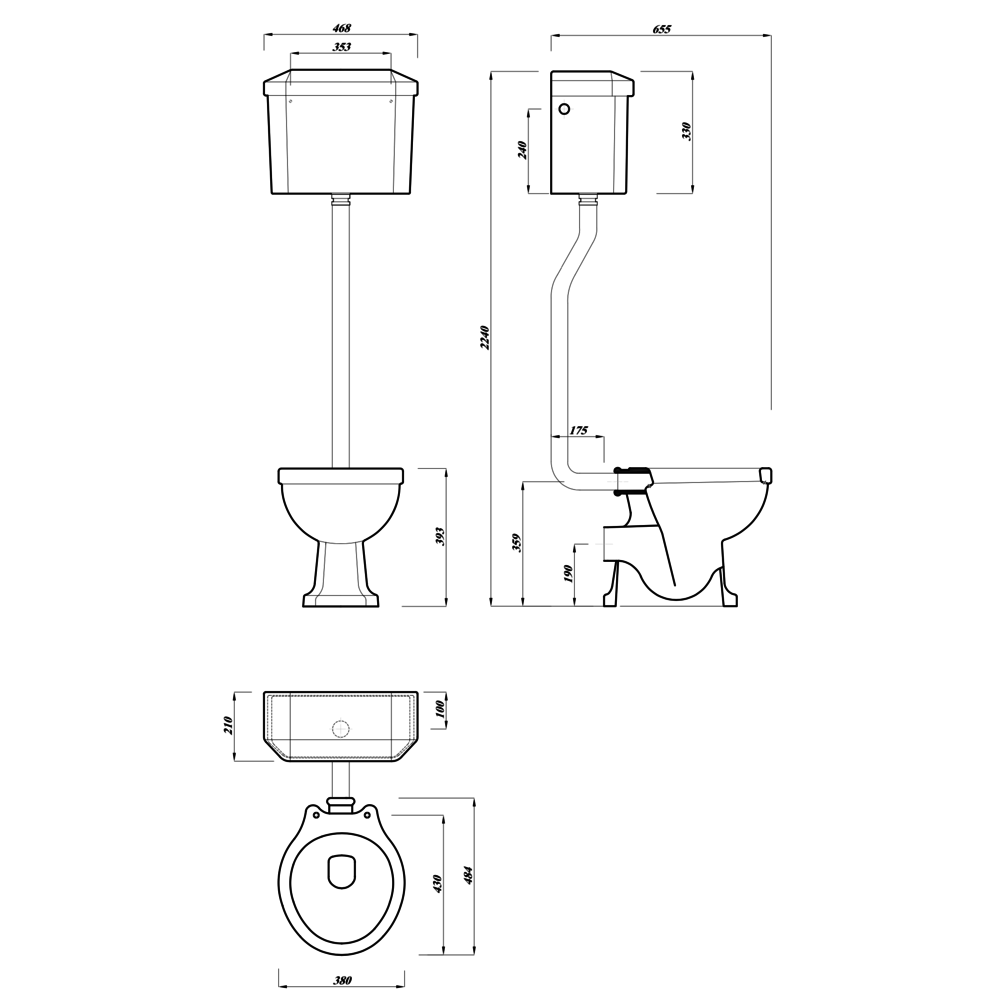 Lefroy Brooks 1900 Classic LB Classic Charterhouse High level toilet with cistern