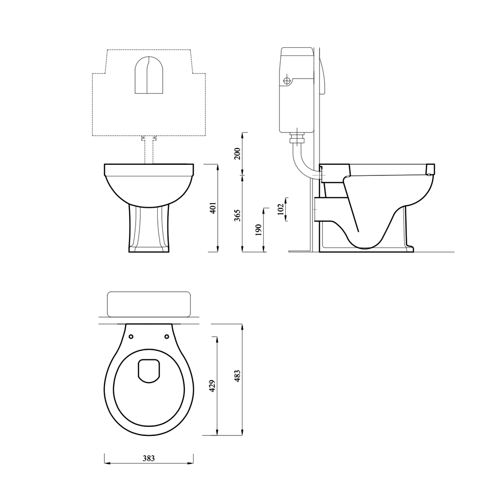 Lefroy Brooks 1900 Classic LB Classic Staande toilet pot - tegen de muur te monteren