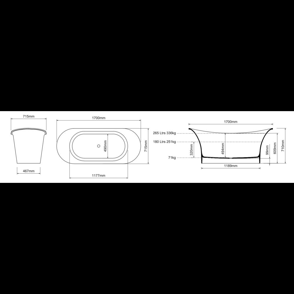 Ashton & Bentley A&B freestanding bath Aegean 1700 Metallic PG - gloss platinum