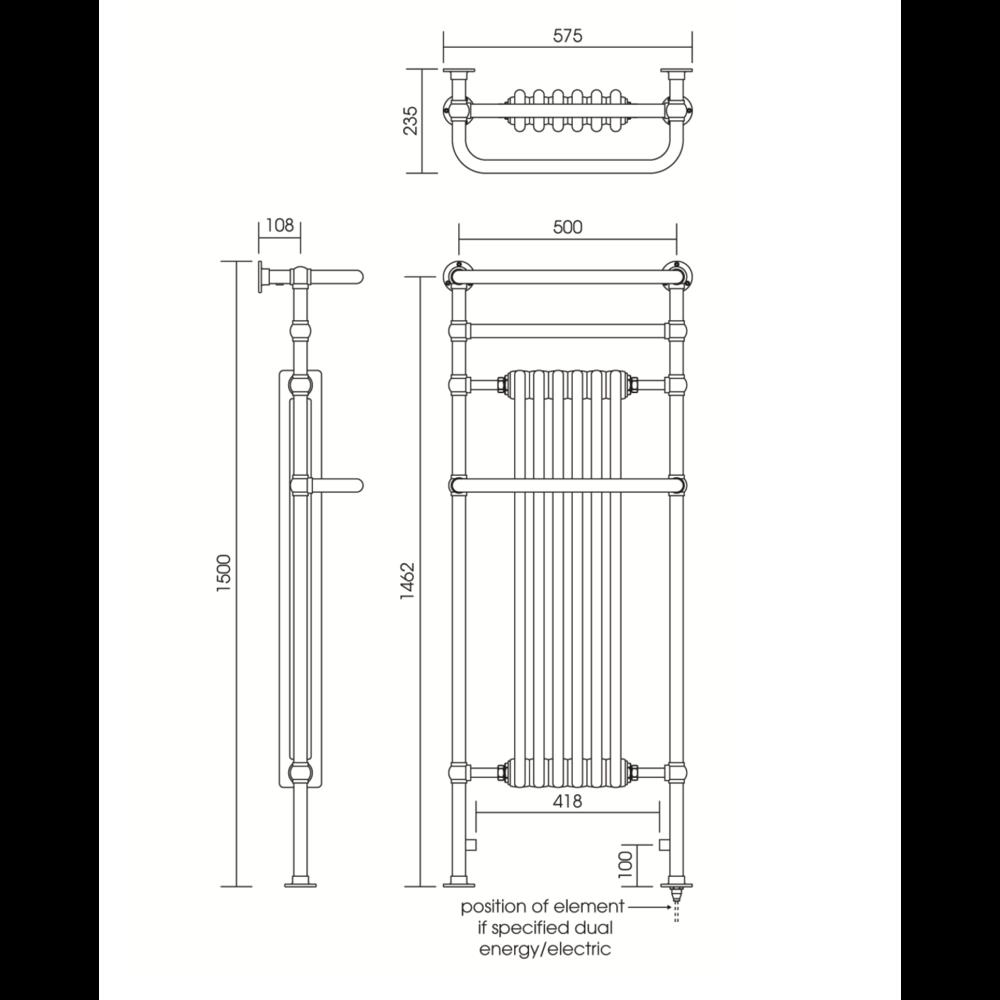 Imperial IMP Klassieke handdoekradiator met witte leden Malmo 6 bar 1500