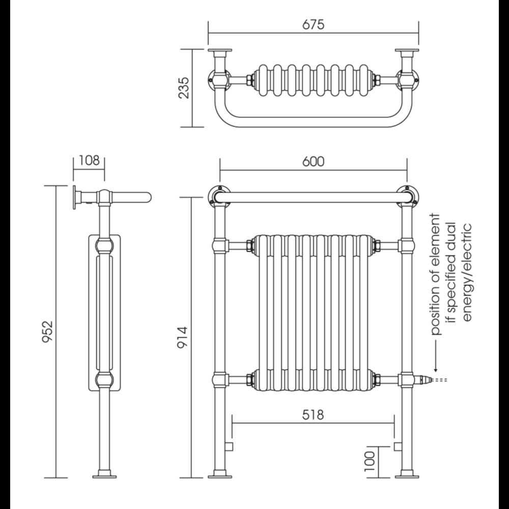 Imperial IMP Klassieke handdoekradiator met witte leden Malmo 8 bar