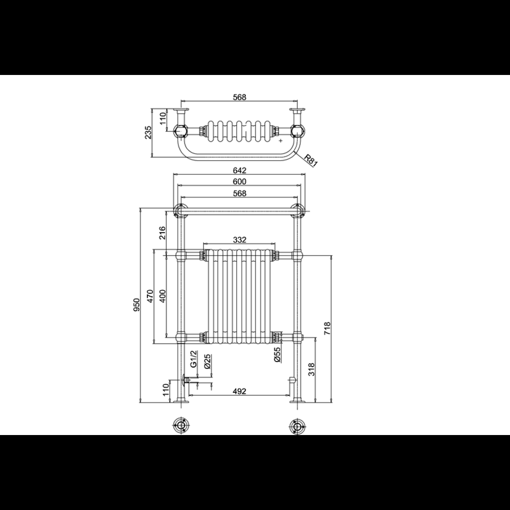Burlington Klassieke handdoekradiator met witte leden Trafalgar R1