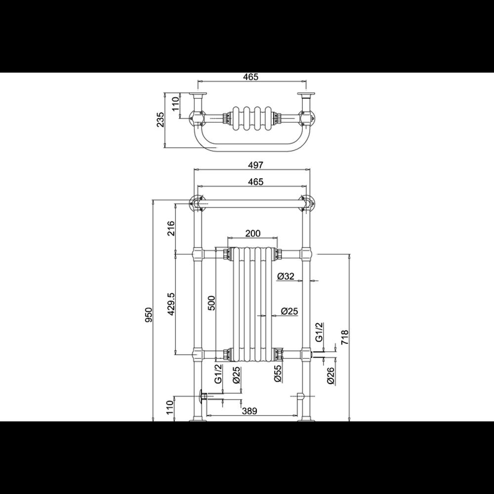 Burlington Klassieke handdoekradiator met zwarte leden Bloomsbury Black R2