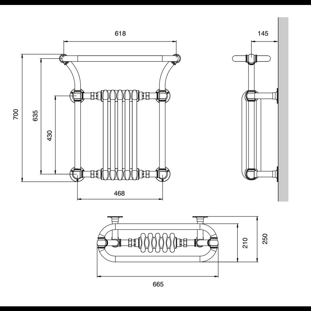 Bard & Brazier B&B Klassieke handdoekradiator met witte leden Florian FLW70/66R