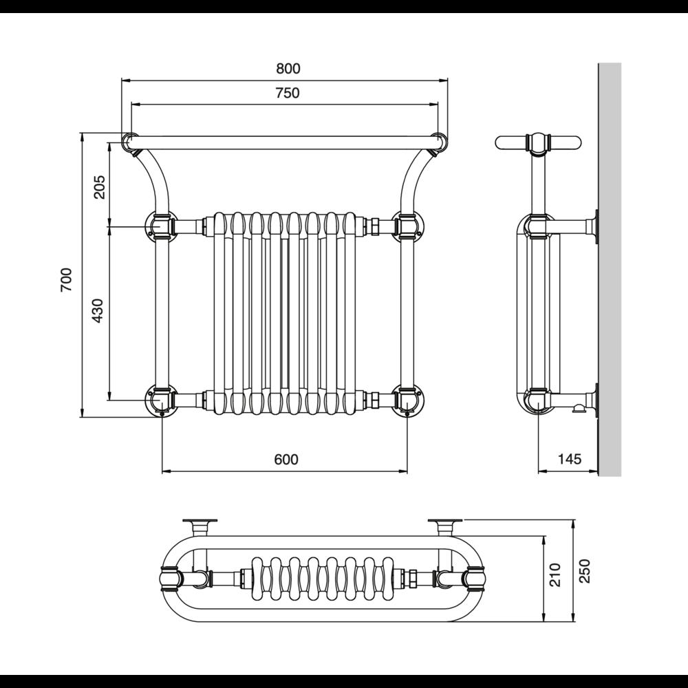Bard & Brazier B&B Klassieke handdoekradiator met witte leden Florian FLW70/80R