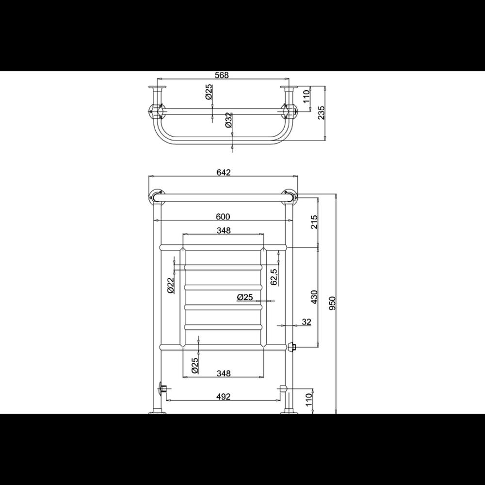 Burlington Klassieke handdoekradiator met chromen inzet  Vincent R5