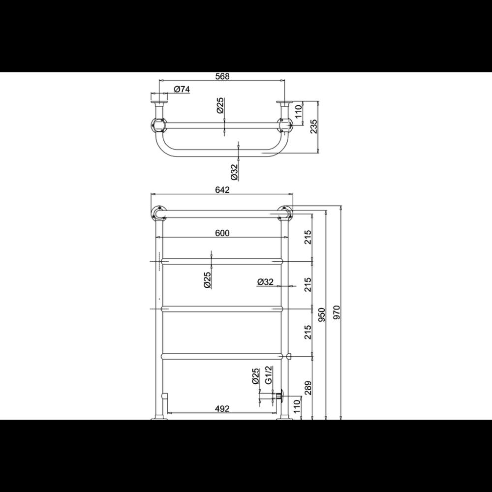 Burlington Klassieke handdoekradiator chroom Berkeley R4