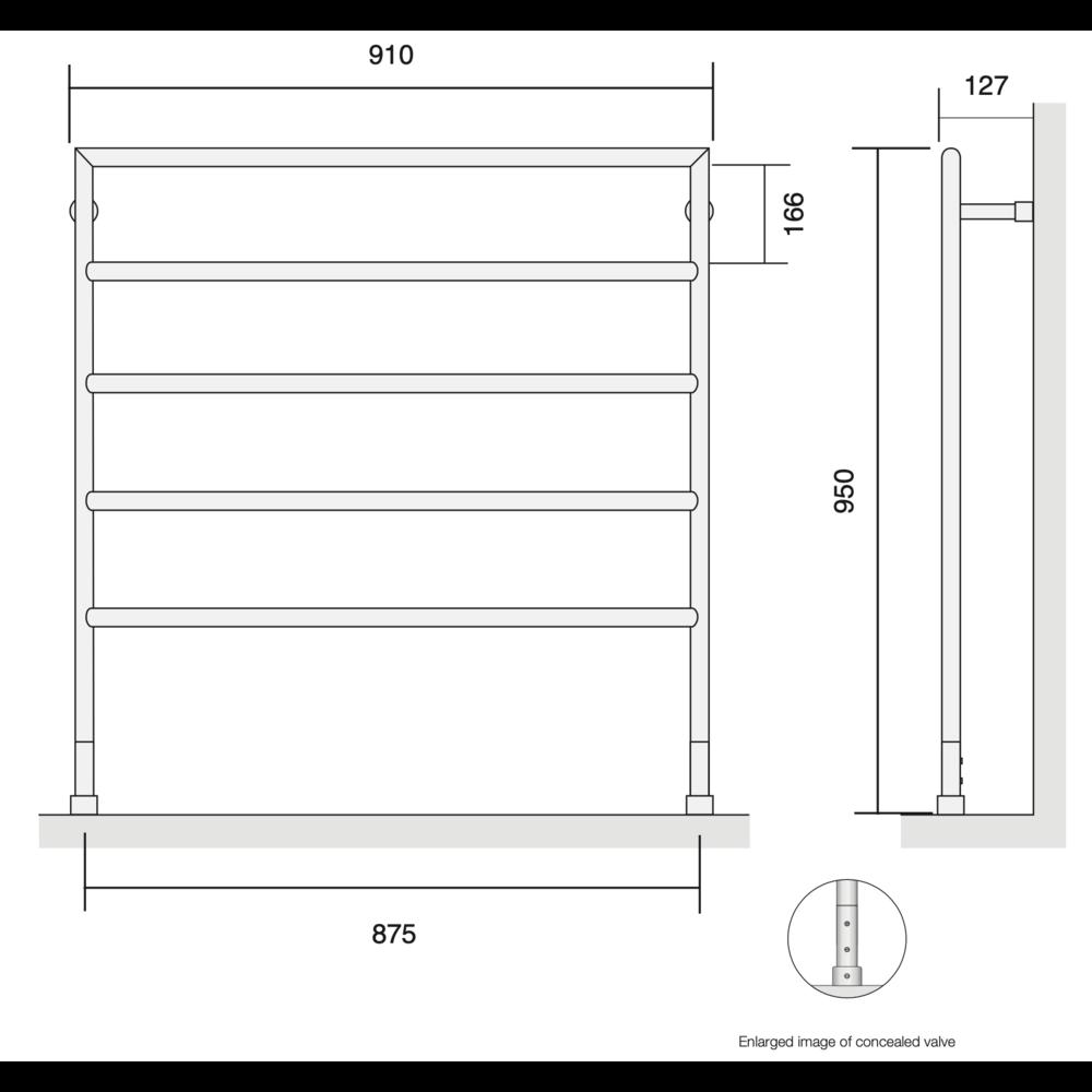Bard & Brazier B&B Moderne contemporary handdoekradiator D-Rail DRF95/90 - 305W